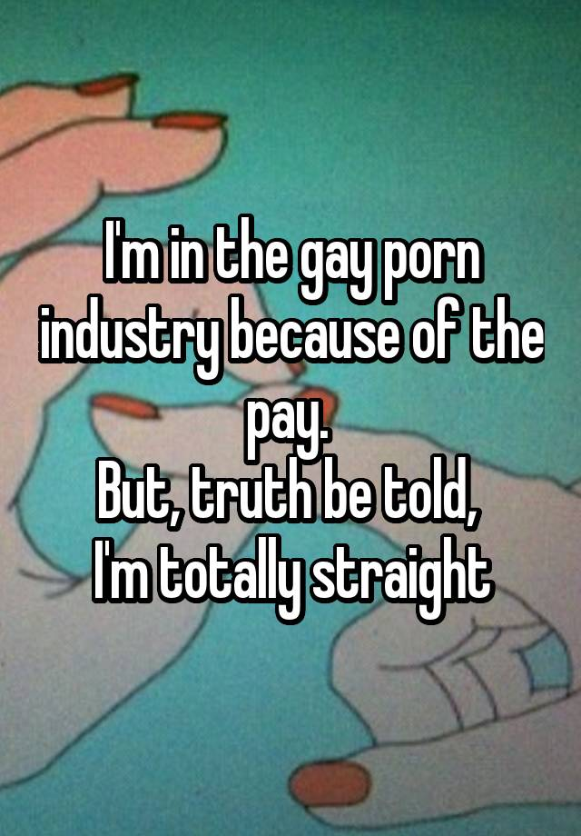 I'm in the gay porn industry because of the pay. But, truth be told, I'm totally straight