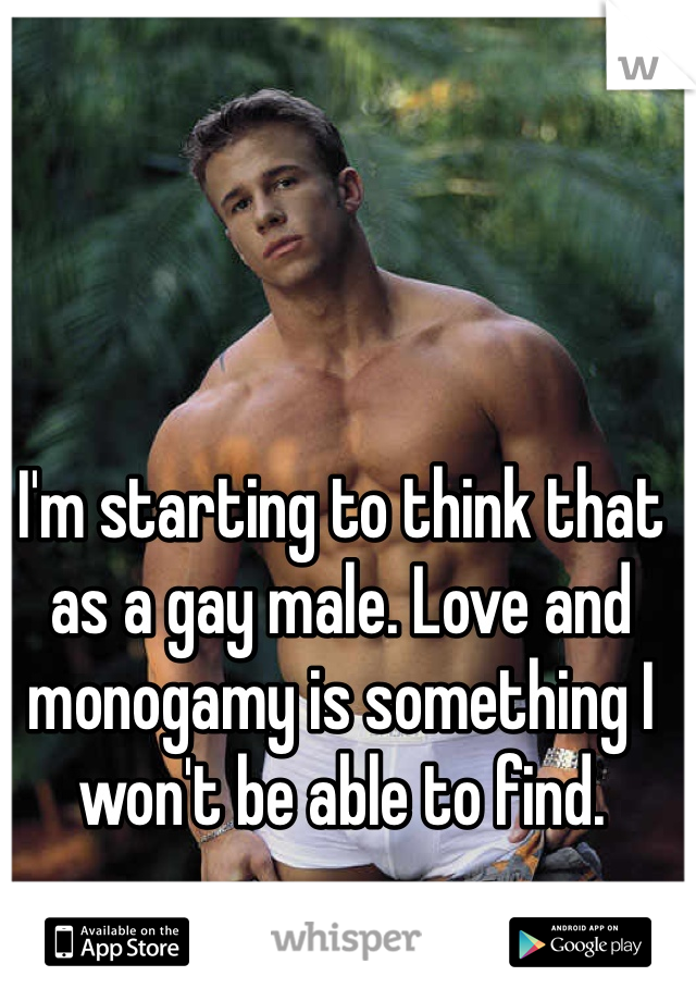I'm starting to think that as a gay male. Love and monogamy is something I won't be able to find.