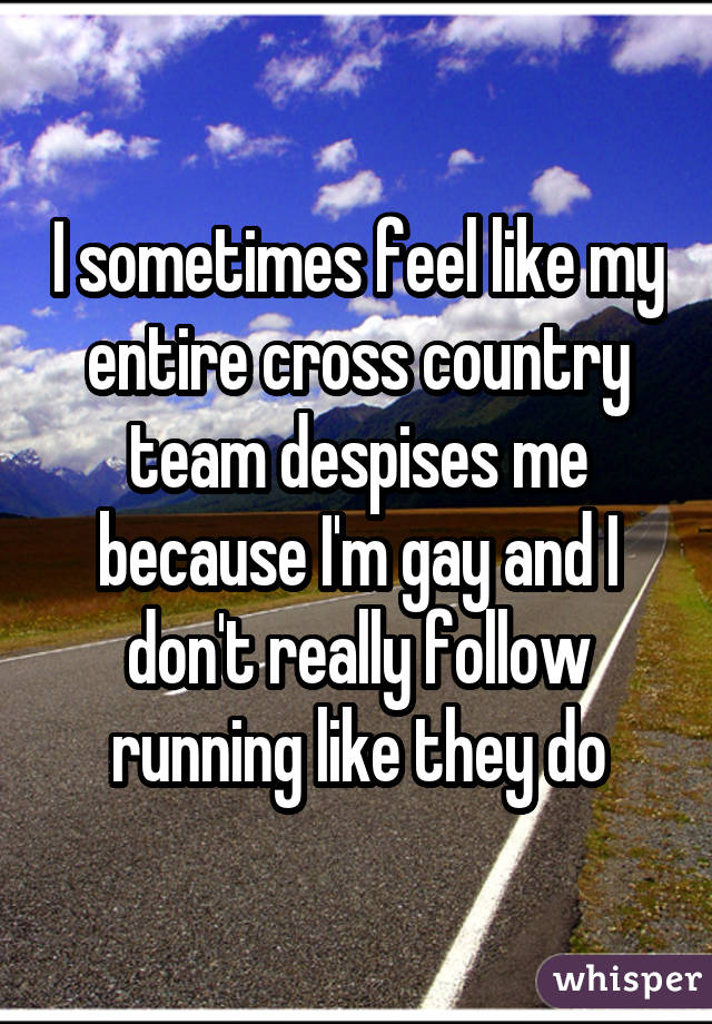 I sometimes feel like my entire cross country team despises me because I'm gay and I don't really follow running like they do