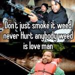 Don't just smoke it weed never Hurt anybody weed is love man