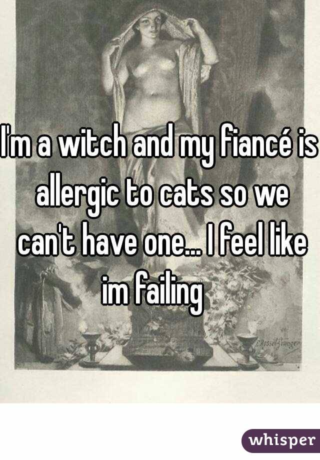 I'm a witch and my fiancé is allergic to cats so we can't have one... I feel like im failing