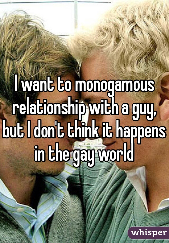 I want to monogamous relationship with a guy, but I don't think it happens in the gay world
