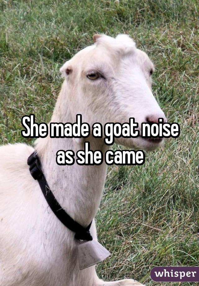 She made a goat noise as she came