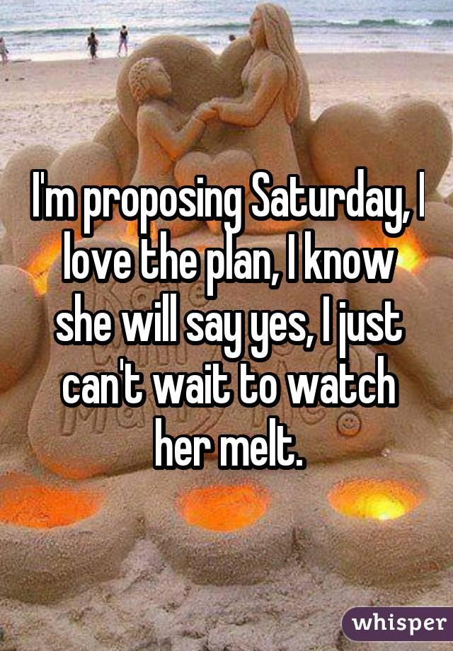 I'm proposing Saturday, I love the plan, I know she will say yes, I just can't wait to watch her melt.