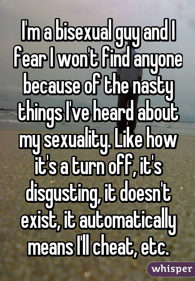 I'm a bisexual guy and I fear I won't find anyone because of the nasty things I've heard about my sexuality. Like how it's a turn off, it's disgusting, it doesn't exist, it automatically means I'll cheat, etc.