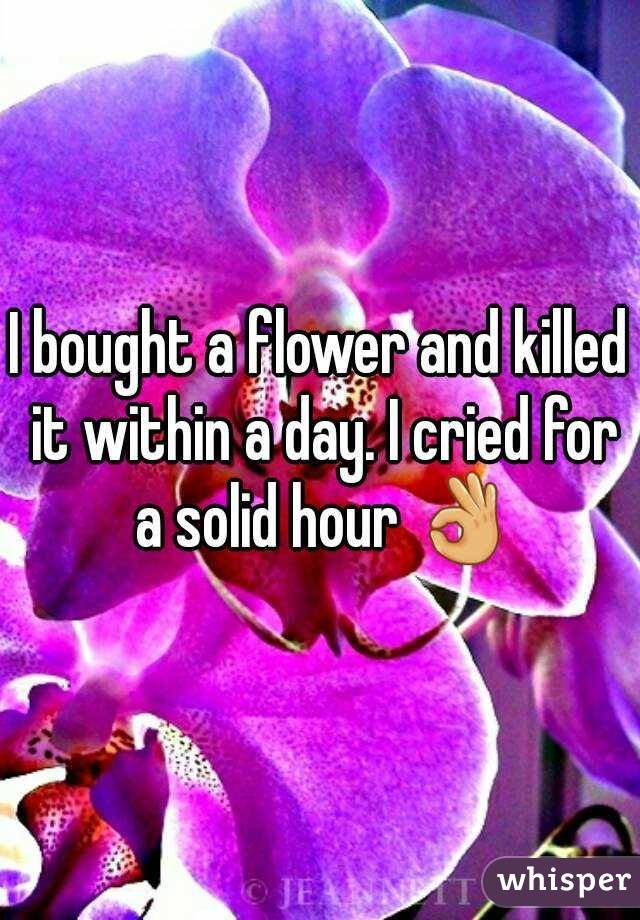 I bought a flower and killed it within a day. I cried for a solid hour 👌
