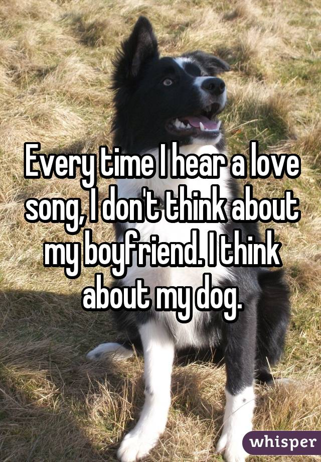 Every time I hear a love song, I don't think about my boyfriend. I think about my dog.