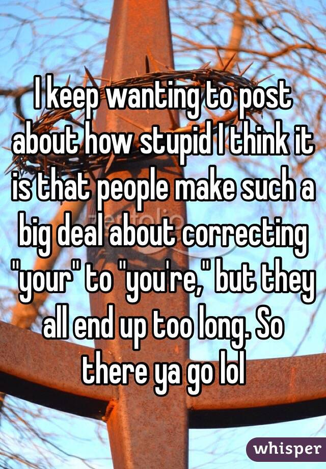 "I keep wanting to post about how stupid I think it is that people make such a big deal about correcting ""your"" to ""you're,"" but they all end up too long. So there ya go lol"