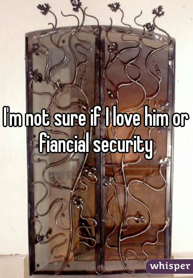 I'm not sure if I love him or fiancial security