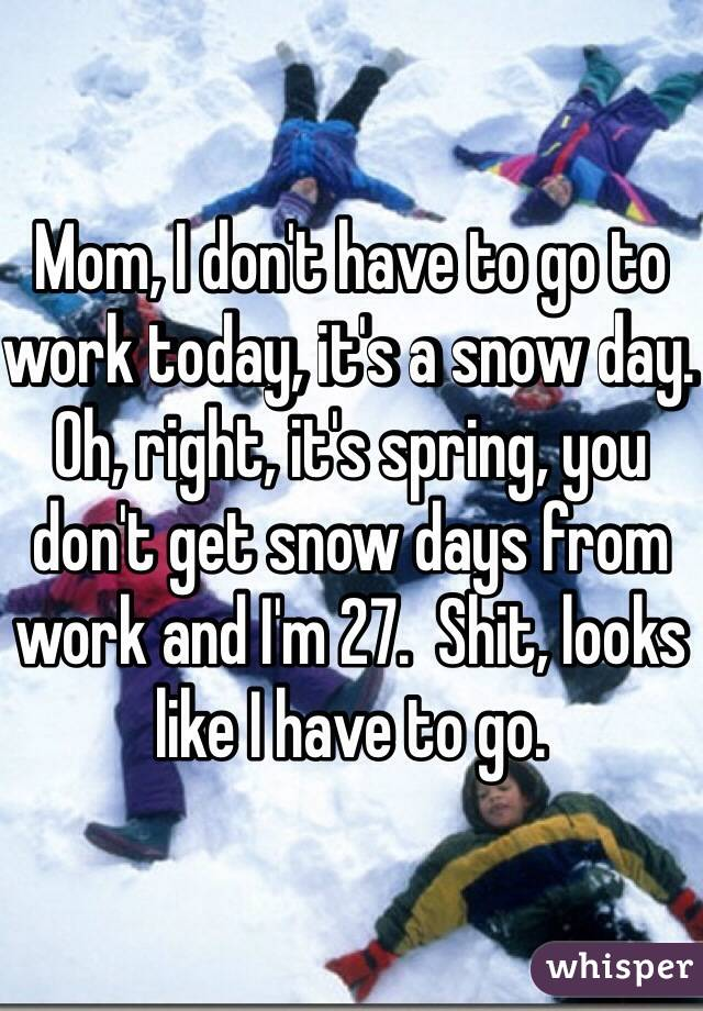 Mom, I don't have to go to work today, it's a snow day.  Oh, right, it's spring, you don't get snow days from work and I'm 27.  Shit, looks like I have to go.