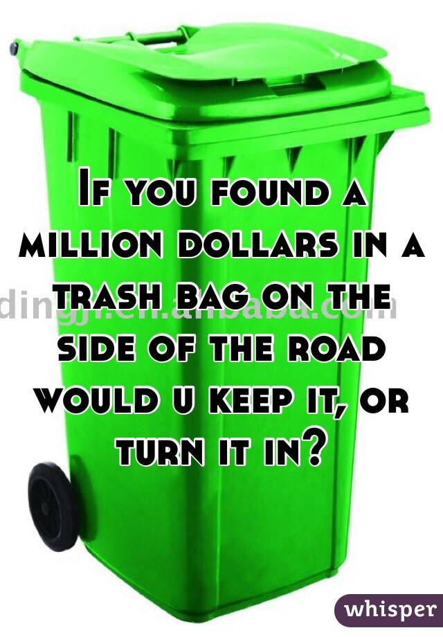 If you found a million dollars in a trash bag on the side of the road would u keep it, or turn it in?