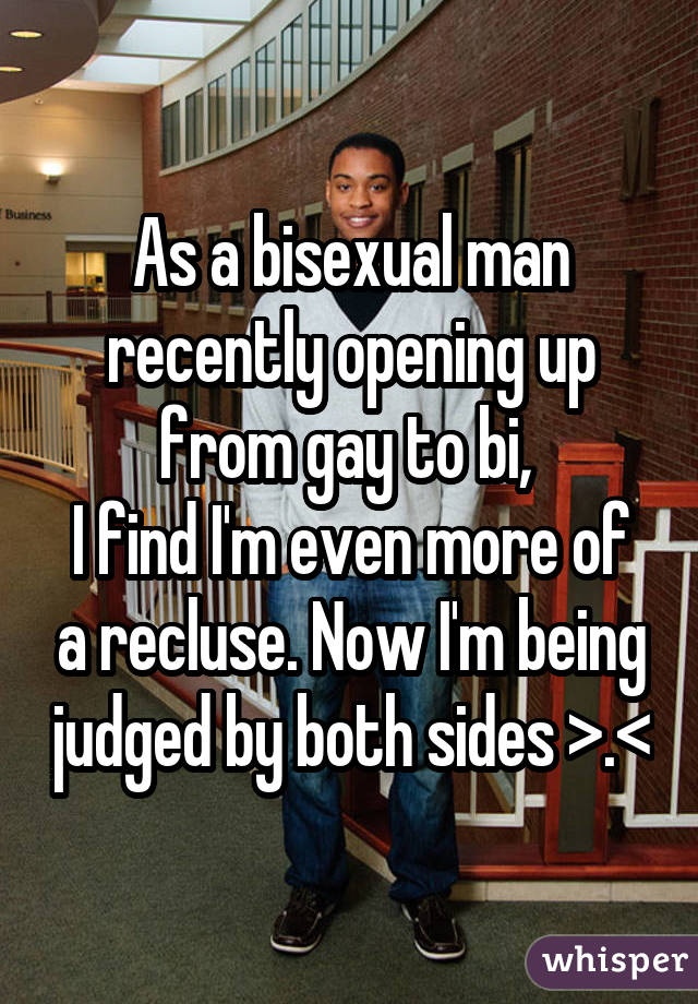 As a bisexual man recently opening up from gay to bi,  I find I'm even more of a recluse. Now I'm being judged by both sides >.<