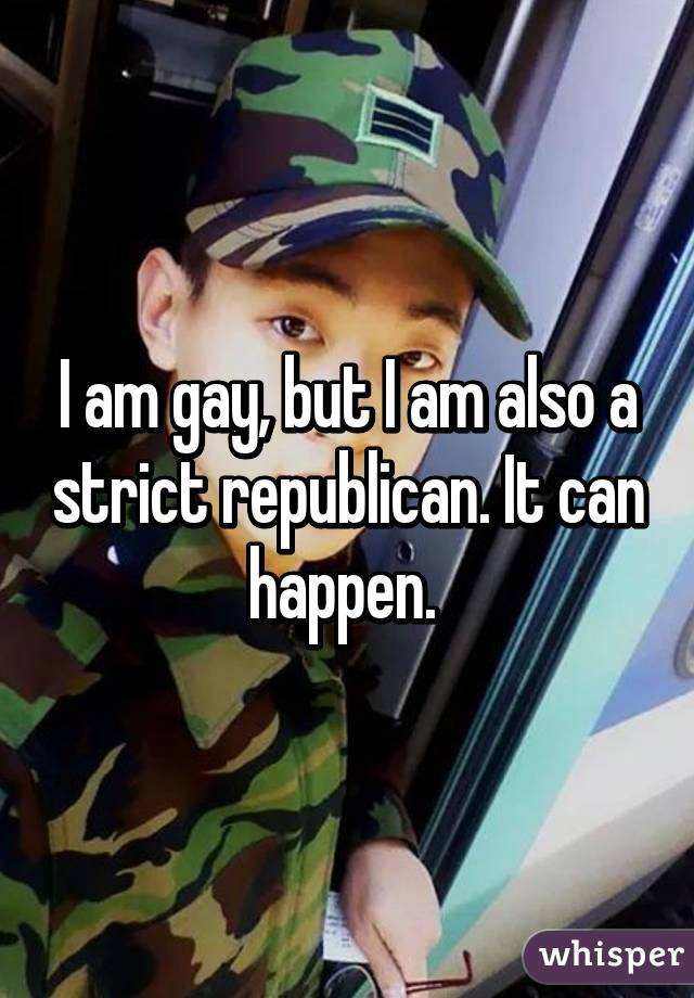 I am gay, but I am also a strict republican. It can happen.