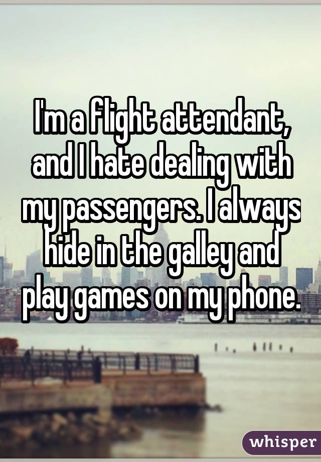 I'm a flight attendant, and I hate dealing with my passengers. I always hide in the galley and play games on my phone.