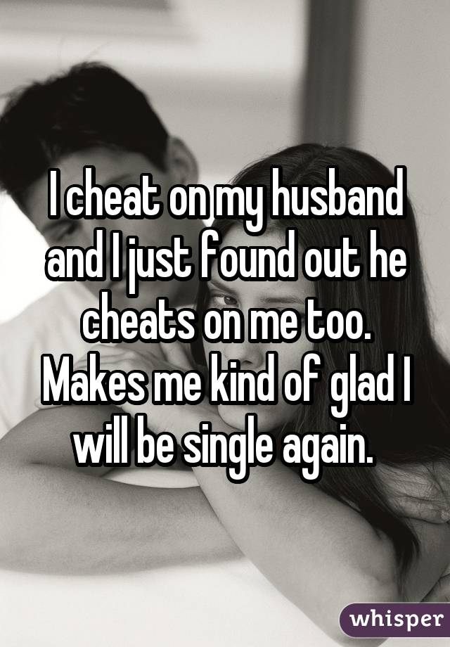 I cheat on my husband and I just found out he cheats on me too. Makes me kind of glad I will be single again.