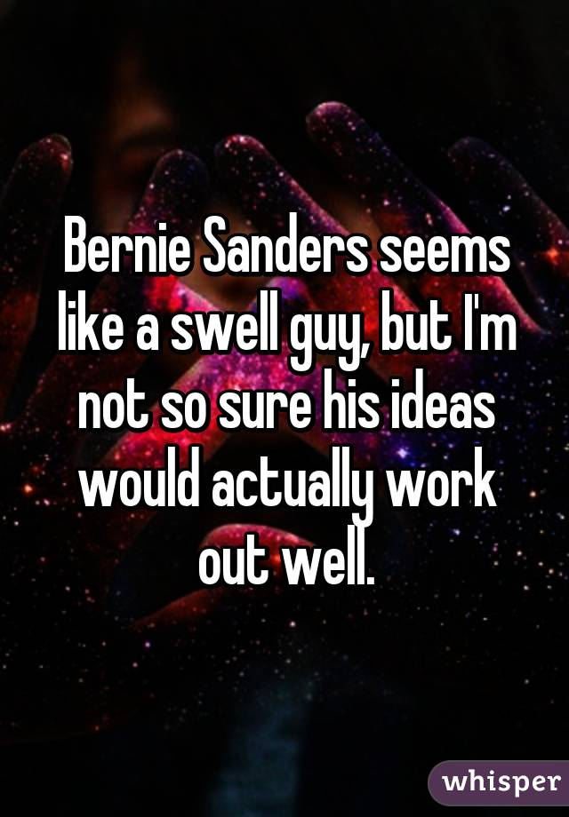 Bernie Sanders seems like a swell guy, but I'm not so sure his ideas would actually work out well.