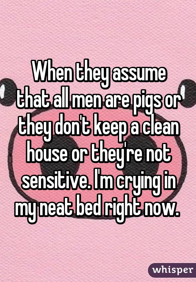 When they assume that all men are pigs or they don't keep a clean house or they're not sensitive. I'm crying in my neat bed right now.