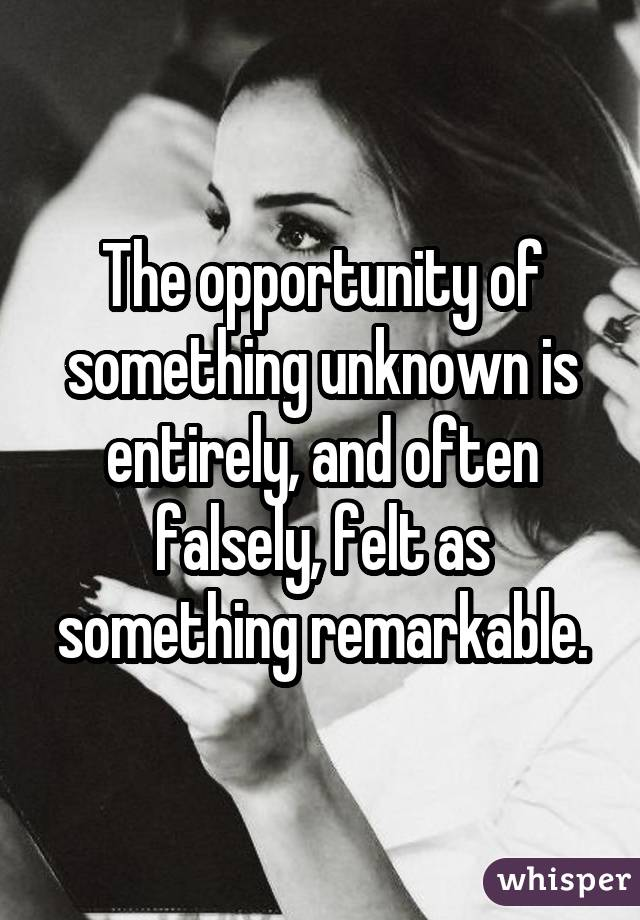 The opportunity of something unknown is entirely, and often falsely, felt as something remarkable.