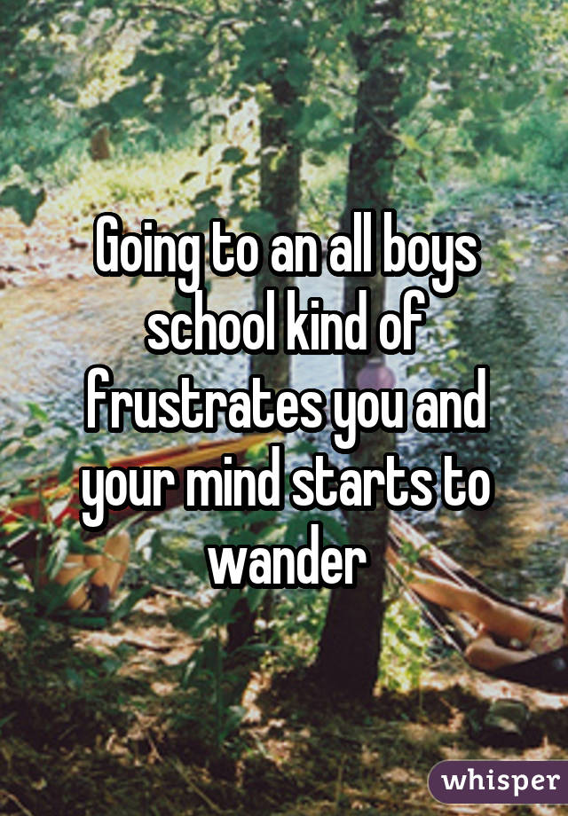 Going to an all boys school kind of frustrates you and your mind starts to wander