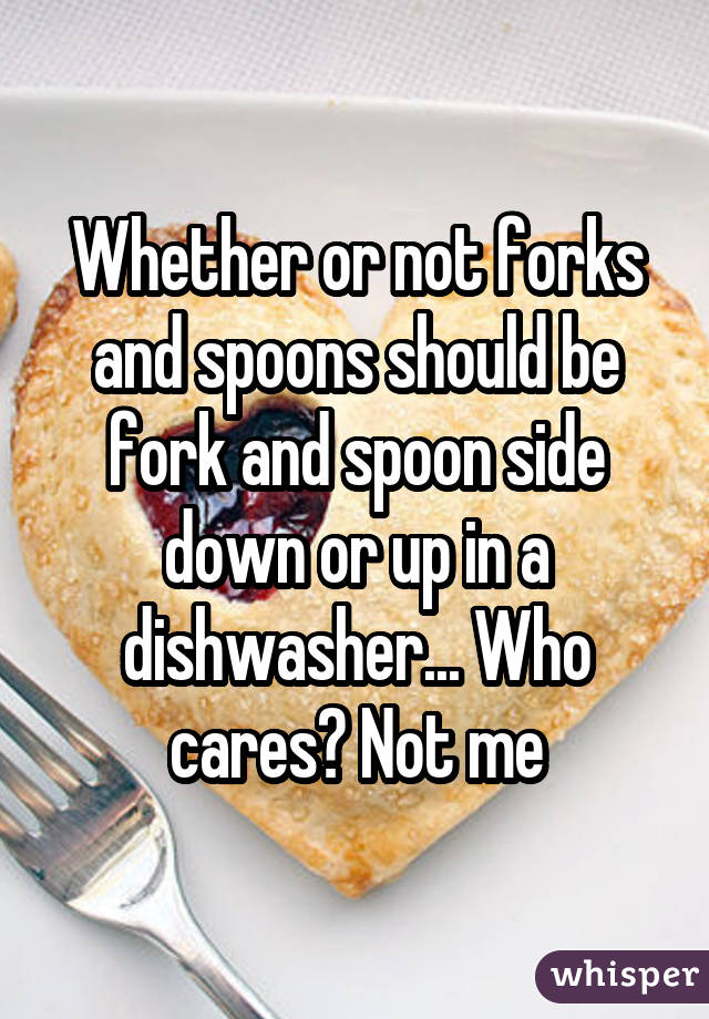 Whether or not forks and spoons should be fork and spoon side down or up in a dishwasher... Who cares? Not me