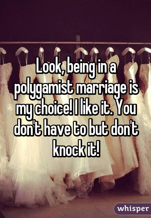 Look, being in a polygamist marriage is my choice! I like it. You don't have to but don't knock it!