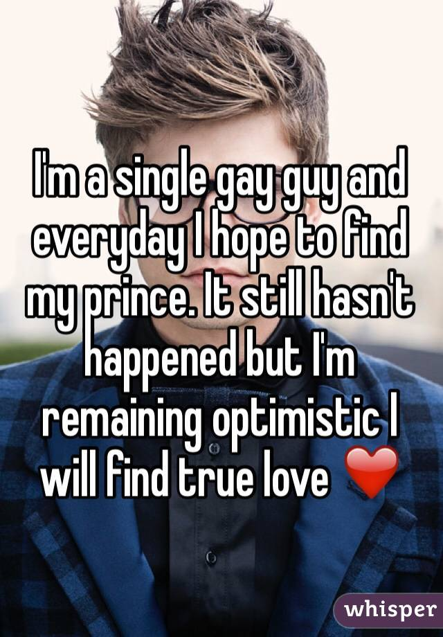 I'm a single gay guy and everyday I hope to find my prince. It still hasn't happened but I'm remaining optimistic I will find true love ❤️