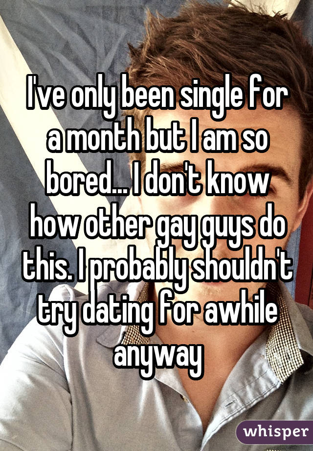I've only been single for a month but I am so bored... I don't know how other gay guys do this. I probably shouldn't try dating for awhile anyway