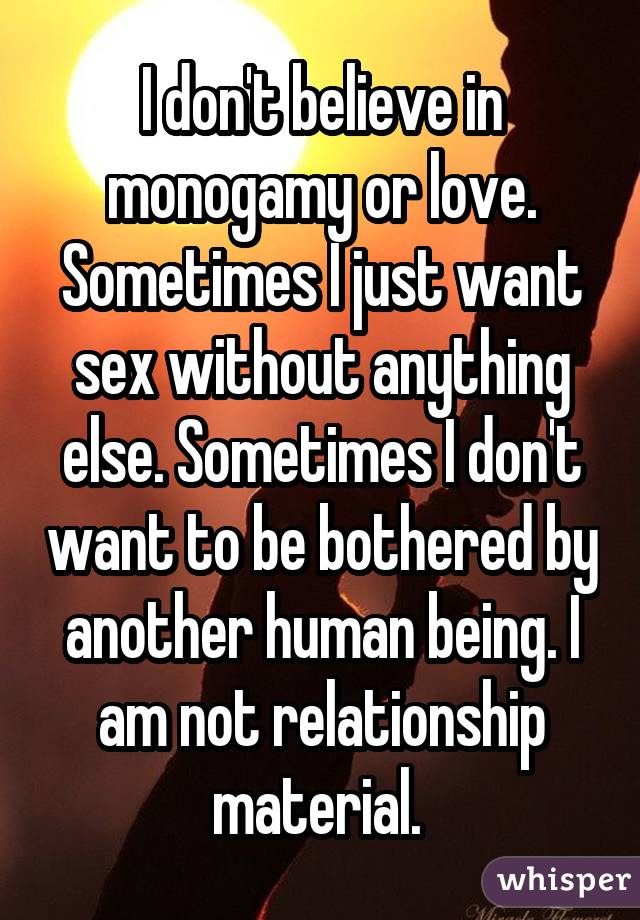 I don't believe in monogamy or love. Sometimes I just want sex without anything else. Sometimes I don't want to be bothered by another human being. I am not relationship material.