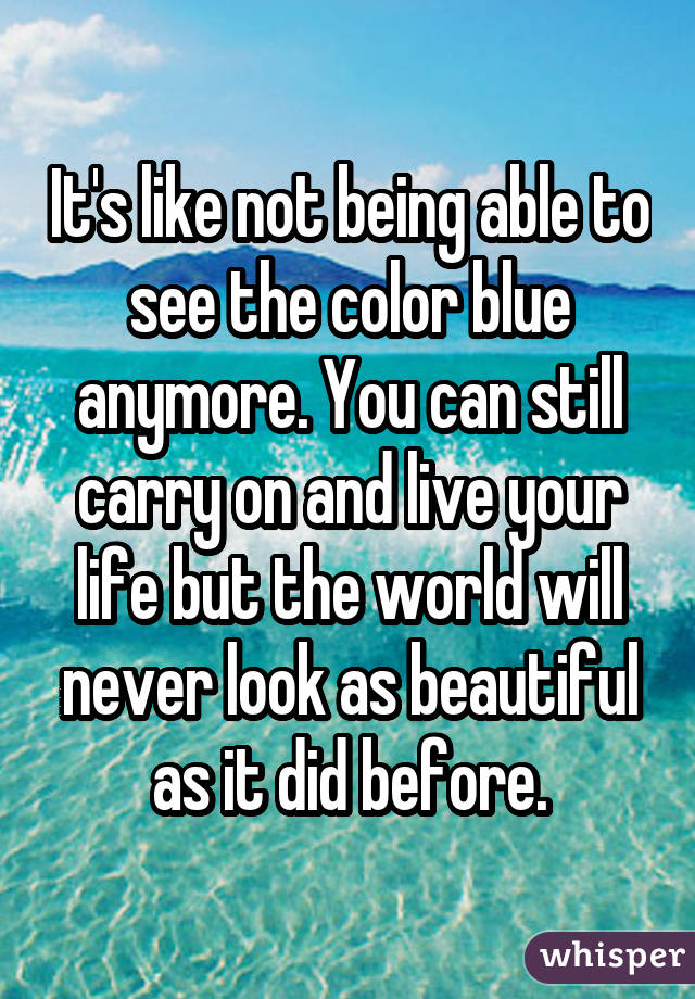 It's like not being able to see the color blue anymore. You can still carry on and live your life but the world will never look as beautiful as it did before.