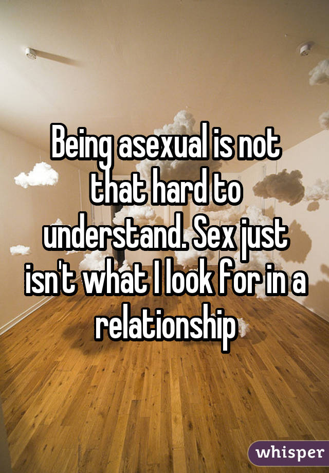 Being asexual is not that hard to understand. Sex just isn't what I look for in a relationship