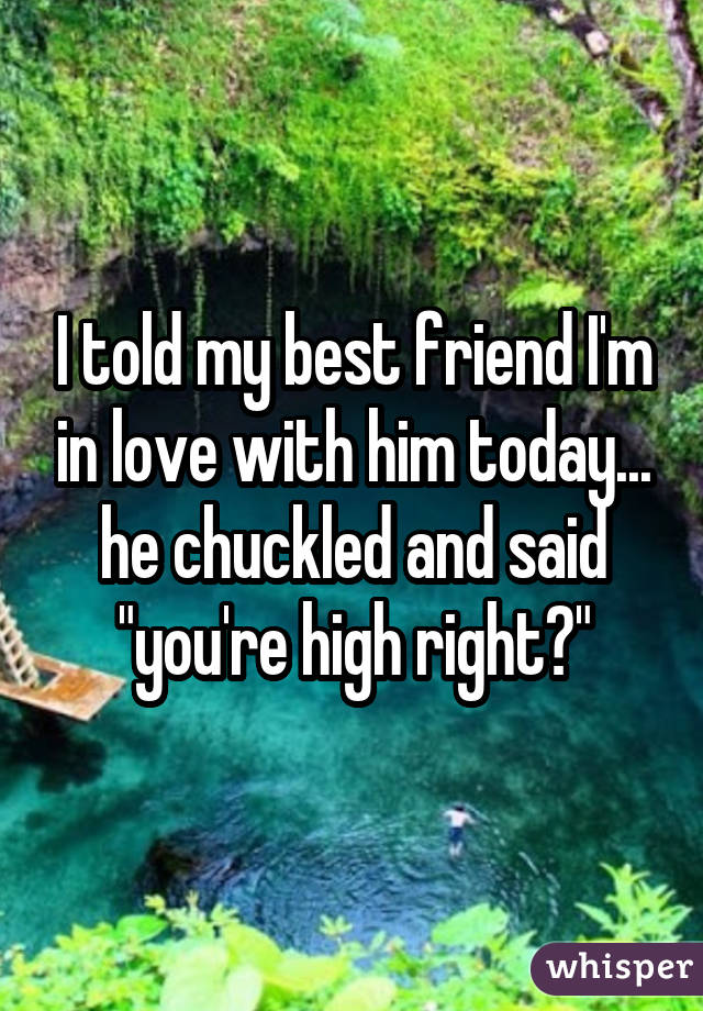 "I told my best friend I'm in love with him today... he chuckled and said ""you're high right?"""