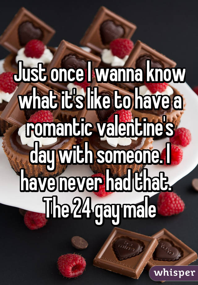 Just once I wanna know what it's like to have a romantic valentine's day with someone. I have never had that. The 24 gay male